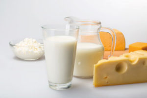 "Image from the leaflet ""Milk - everything you need"", produced by British Dairying, of milk and cheese"