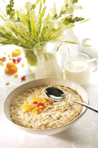"Image from the leaflet ""Milk - everything you need"", produced by British Dairying, of a bowl of porridge and jug of milk"
