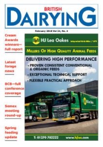 Cover image of the February 2018 edition of Britsh Dairying, magazine for UK dairy farmers