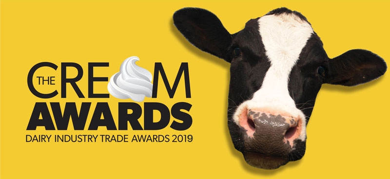 Banner promoting the Cream Awards 2019, dairy industry trade awards sponsored by British Dairying, the magazine for dairy farmers
