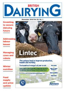 Cover image of the November 2018 edition of British Dairying magazine, the trade publication for UK dairy farmers